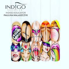 Bad Icon by Indigo Educator Paulina Walaszczyk, & Pop Art Nails, Nail Pops, Sexy Nail Art, Sexy Nails, Crazy Nail Designs, Nail Art Designs, Nail Drawing, Nailart, Indigo Nails