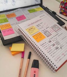 Spiral notebook-decorated post-it notes College Notebook, College Notes, School Notes, Neat Handwriting, Studyblr, Study Organization, Study Motivation Quotes, School Study Tips, Pretty Notes