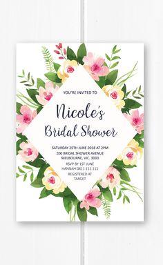 Bridal shower invitation printable, pink bridal shower ideas, floral bridal shower invites, kitchen tea ideas from Pink Summer Designs on Etsy
