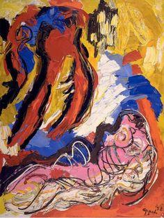 Beach Life   Karel Appel, 1958 - Oil on canvas, 63 3/8 x 51 1/8 IN (161.0 x 130.0 cm)