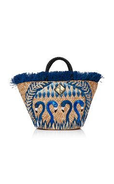 ARANAZ Blue Flamingo Tote. #aranaz #bags #leather #hand bags #lining #tote #cotton #