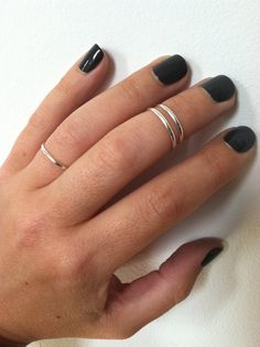 3 Layering Sterling Silver Band Rings16mm any by GLAMROCKSdesigns