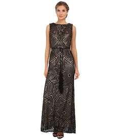 Vince Camuto All Over Geometric Sequin Gown w/ Fringe Sash