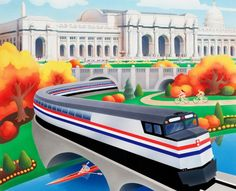 Amtrak 40th Anniversary Postcard jigsaw puzzle in Puzzle of the Day puzzles on TheJigsawPuzzles.com