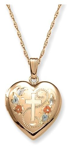 "14k Yellow Gold Filled Engraved Cross Heart Locket, 18"""