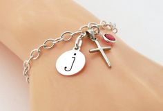 Silver Cross Bracelet Personalized Cross by MistyMornDesigns