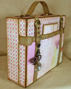 Travel Tales chipboard and paper Suitcase and mini album display...designed by Kathy Orta