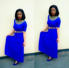 Zulu and a touch of Gold Touch Of Gold, Zulu, Traditional Outfits, Royal Blue, High Neck Dress, Beads, Dresses, Fashion, Turtleneck Dress