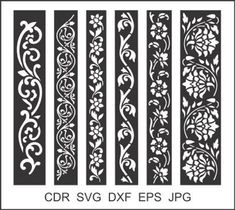 6 Border Cutting File For Laser, Cnc & Plasma, Cricut Floral Wall Stencil, Decorative Elegant Border Stencils Cnc Plasma, Wood Panel Walls, Panel Wall Art, Stencil Patterns, Stencil Designs, Laser Cnc, Jaali Design, Machine Cnc, Cnc Cutting Design