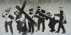 """Banksy graffiti art for Good Friday dubbed """"Stations of the Cross"""" I find this very thought provoking. Banksy Graffiti, Arte Banksy, Street Art Banksy, Bansky, Stencil Graffiti, Lucas 9, Holy Week, Arte Popular, Cultural"""