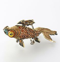 Vintage Chinese Gilded Silver Enamel Articulated LARGE Fish Pendant #Pendant