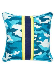 Handmade Camo Needlepoint Pillow on Gilt