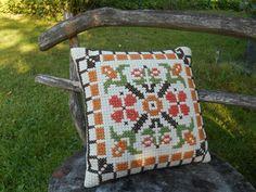 Vintage Swedish embroidered pillow Orange brown green pillow Embroidered throw pillow Decorative pillow
