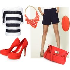 Navy and Coral.  Make the shorts/skirt longer, and you're onto something.  :)