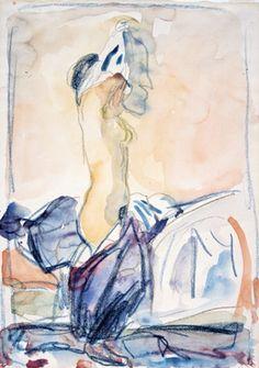 Edvard Munch, Modèle se déshabillant, 1924 (aquarelle) on ArtStack Edvard Munch, Life Drawing, Painting & Drawing, Karl Schmidt Rottluff, Amedeo Modigliani, Post Impressionism, Vintage Artwork, Art Moderne, Colorful Drawings