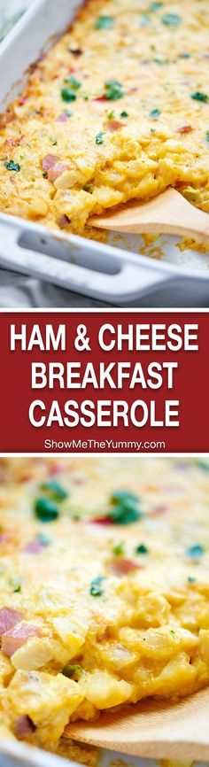 This Ham and Cheese Breakfast Casserole Recipe is SO quick & easy (less than 10 minutes of prep) and full of hash browns, eggs, ham, and plenty of cheese! http://showmetheyummy.com #breakfast #casserole