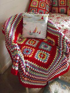 Hand crocheted THROW or LAP BLANKET + a CUSHION handmade in Cath Kidston fabric | eBay