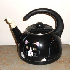 Vintage Tea Kettle Cat & Bird Black Tea Pot by TheBackShak on Etsy