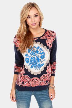 Never Been Better Navy Blue Print Sweater     @LuLu*s