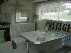 Keep re upholstered cushions, cover during the day with throw blankets. Nancy's Vintage Trailers: A Fellow Bloggers Trailer.... Oh so Cute!!