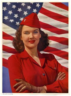 All-American Stars and Stripes Victory Girl, 1944. #vintage #1940s #WW2 #flag