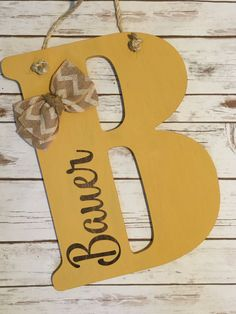 Wooden Front Door Letter Hanger - Rope or Ribbon Holder - Welcome Sign - Front Porch Decor - Wreath Monogram Letter - Accent Flowers Or Bow