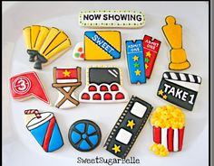 Movie Night Cookies- The Art of the Cookie Star Cookies, Cut Out Cookies, Iced Cookies, Cute Cookies, Royal Icing Cookies, Cookie Frosting, Cupcake Cookies, Cupcakes, Circus Cookies