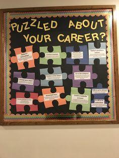 RA bulletin board for career development Counseling Bulletin Boards, College Bulletin Boards, Health Bulletin Boards, Bulletin Board Design, Ra Bulletins, Ra Boards, Resident Assistant, School Displays, Career Development