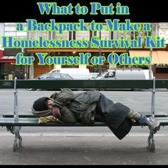 Learn what to put into a backpack to make it into a homelessness survival kit for yourself or others. Survival Quotes, Survival Food, Outdoor Survival, Survival Prepping, Emergency Preparedness, Survival Skills, Emergency Kits, Emergency Food, Camping Survival