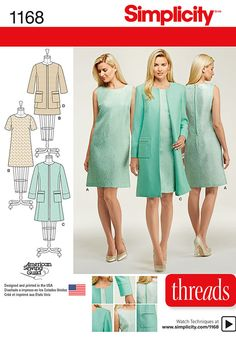"get this great dress in two lengths with option of short sleeve or sleeveless, along with the lined collarless coat or jacket with patch pockets. look for featured article in threads magazine issue 178.  <u><strong><label class=""red""><a href=""https://www.youtube.com/playlist?list=plrblsod3oo6kcvuztqu5jzc-0xnb_olcz"" target=""_blank"">for video on finishing techniques click here </a></label></strong></u>"