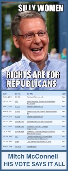 Shop at Hains Clearance HainsClearance dot com for great savings. The ugly voting record of Mitch McConnell. Should make this '...rights are for rich, straight, Republican men...'