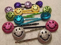 14 RAINBOW GITTERED SMILING Faces Hair Bobby Pins by by JUSTEJOLIE