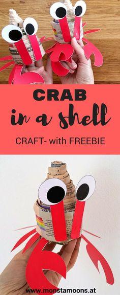 Krabben basteln, Basteln mit Zeitungspapier, crab craft, Monstamoons, newspaper crafts, DIY Krabbe, Krebs basteln, Basteln für den Sommer, summer crafts