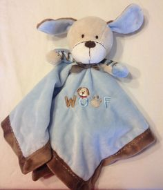 LOVEY Carters Woof Baby SECURITY BLANKET Puppy DOG BLUE BROWN RATTLE Boys Blanky #Carters