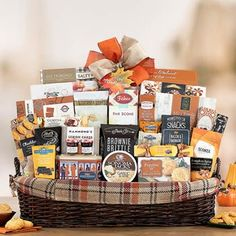 Thanksgiving Gift Baskets - Thanksgiving Appreciation Basket Ghirardelli Chocolate Squares, Chocolate Wafers, Kettle Corn Popcorn, Vanilla Fudge, Strawberry Preserves, Caramel Bars, Themed Gift Baskets, Cheese Spread, Thanksgiving Gifts