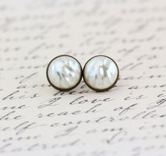 Pearl Stud Earrings Brass Post Earrings by JacarandaDesigns