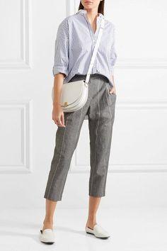 Brunello Cucinelli - Embellished Striped Stretch-cotton Poplin Shirt - Blue - xx small