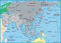 Large Map of Asia, Easy to Read and Printable