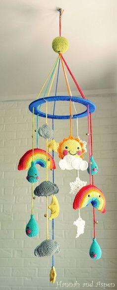 Reserve for Cora – Baby mobile – Baby Crib Mobile – Nursery Mobile – Mobile – Crochet Mobile – The weather man colored ring Crochet Kawaii, Crochet Gratis, Crochet Amigurumi, Cute Crochet, Crochet For Kids, Crochet Baby Mobiles, Crochet Mobile, Crochet Baby Toys, Baby Knitting
