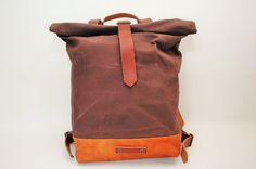 waxed Canvas rucksack/backpackbronze color by NATURALHERITAGEBAGS