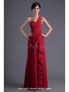 Chiffon Asymmetrical Column Floor Length Prom Dress