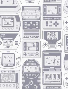 Gameland Designer Fabric by Aimée Wilder. Sold by the yard. Gameland comprises hand-held video games from the 80's imagined by Aimée, and is included in the permanent archive at the Brooklyn Museum of