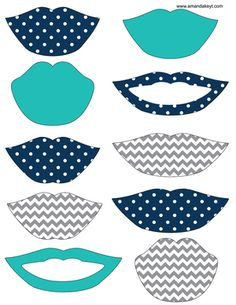 Lips from Baby Navy Teal & Grey Printable Photo Booth Prop Set