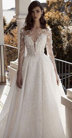 24 Bridal Gowns With Sleeves Never Fails To Impress ? bridal gowns with sleeves princess illusion neckline leahdagloria ? : 24 Bridal Gowns With Sleeves Never Fails To Impress ? bridal gowns with sleeves princess illusion neckline leahdagloria ? Wedding Dress Trends, Long Wedding Dresses, Bridal Dresses, Event Dresses, Long Dresses, Simple Dresses, Gown Wedding, Party Dresses, Beautiful Dresses