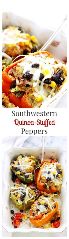 Southwestern Quinoa Stuffed Peppers: Stuffed with a delicious and cheesy quinoa mixture, these peppers are flavorful and filling!