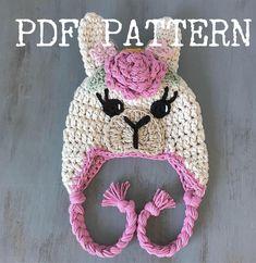 Ravelry: Boho Llama Hat pattern by Jen Mitchell - Nella's Cottage Crochet Toddler Hat, Crochet Animal Hats, Crochet Baby Hat Patterns, Crochet Kids Hats, Crochet Beanie, Free Crochet, Knitted Hats, Booties Crochet, Crochet Princess Hat