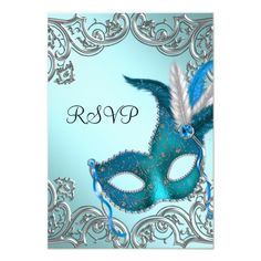 Masquerade Party Invitations Teal Blue Silver Mask Masquerade Party RSVP Card