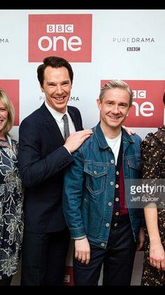 SHERLOCK (BBC) ~ Benedict Cumberbatch & Martin Freeman with cast & creators at Season 4 screening in London on December 19, 2016.
