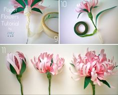 Podemos hacer otro tipo de flores con la ayuda de acuarelas y cortando el papel en tiras verticales. En este caso, podemos pintar el papel con un degradado. De un rosa fucsia a un blanco.