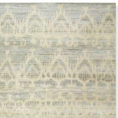 Hand Knotted Tonal Ikat Rug, 6' X 9', Ivory
